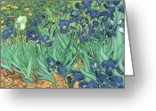 1889 Greeting Cards - Irises Greeting Card by Vincent Van Gogh