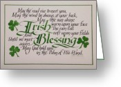 Irish Greeting Cards - Irish Blessing Horizontal Greeting Card by Carol Sabo