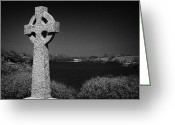 Churchyard Greeting Cards - Irish Celtic Cross Overlooking Lake Greeting Card by Joe Fox