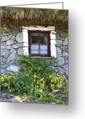 County Clare Greeting Cards - Irish Cottage Window County Clare Ireland Greeting Card by Teresa Mucha