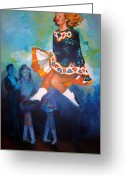 Jump Drawings Greeting Cards - Irish Dancer 1 Greeting Card by Nicole McKeever