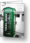Selective Color Greeting Cards - Irish Phone Booth in  Kinsale Greeting Card by George Oze
