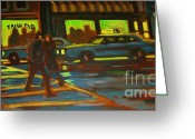 Crosswalk Painting Greeting Cards - Irish Pub Greeting Card by John Malone