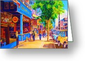 Montreal Cityscenes Greeting Cards - Irish Pub on Crescent Street Greeting Card by Carole Spandau