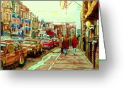 Cities Art Painting Greeting Cards - Irish Pubs And Bistros Downtown Montreal Greeting Card by Carole Spandau