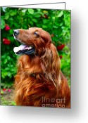 Hunter Greeting Cards - Irish Setter Greeting Card by Jenny Rainbow