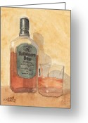 Liquid Greeting Cards - Irish Whiskey Greeting Card by Ken Powers