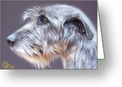 Pet Portrait Drawings Greeting Cards - Irish Wolfhound  2 Greeting Card by Elena Kolotusha