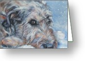 Snow Greeting Cards - Irish Wolfhound resting Greeting Card by Lee Ann Shepard