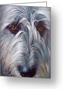Portrait Greeting Cards - Irish Wolfhound Greeting Card by Elena Kolotusha