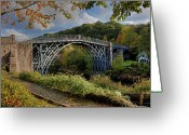Railroad Track Greeting Cards - Iron Bridge Greeting Card by Gail Johnson