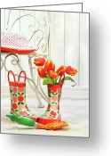 Boot Greeting Cards - Iron chair with little rain boots and tulips  Greeting Card by Sandra Cunningham