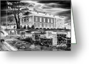 Gray-scale Greeting Cards - Iron County Courthouse III - BW Greeting Card by Kip DeVore