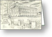 Storm Drawings Greeting Cards - Iron County Courthouse III Greeting Card by Kip DeVore