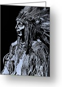 Chief Glass Art Greeting Cards - Iron Eyes Cody Greeting Card by Jim Ross
