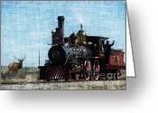 Iron Horse Greeting Cards - Iron Horse Invades the Plains Greeting Card by Lianne Schneider