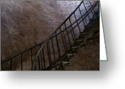 Bannister Tapestries Textiles Greeting Cards - Iron Stairway Winding Its Way Greeting Card by Todd Gipstein