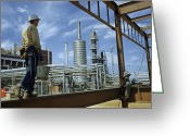 Routine Greeting Cards - Iron Workers Erect A New Building Greeting Card by Robert Sisson