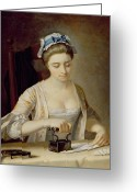 Pressing Greeting Cards - Ironing Greeting Card by Henry Robert Morland