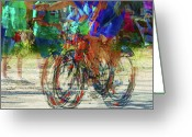 Ironman Photo Greeting Cards - Ironman bicyclist 2109 Greeting Card by David Mosby