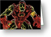 Neon Art Greeting Cards - Ironman Greeting Card by Dean Caminiti