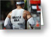 Bicycle Art Greeting Cards - Ironman Muscle Milk Greeting Card by Bob Christopher