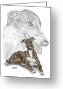 Grey Drawings Greeting Cards - Irresistible - Greyhound Dog Print color tinted Greeting Card by Kelli Swan