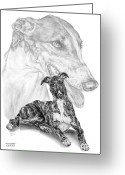 Pencil Drawing Greeting Cards - Irresistible - Greyhound Dog Print Greeting Card by Kelli Swan
