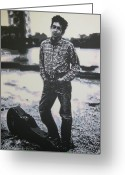 Woody Guthrie Greeting Cards - Is there no one here that knows where Im at Greeting Card by Luis Ludzska