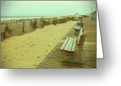 Park Benches Greeting Cards - Is This A Beach Day - Jersey Shore Greeting Card by Angie McKenzie