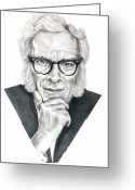 Science Fiction Drawings Greeting Cards - Isaac Asimov Greeting Card by Murphy Elliott