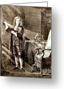 Isaac Newton Greeting Cards - Isaac Newton, Ray Of Light Greeting Card by Science Source