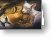 Lion Painting Greeting Cards - Isaiah Greeting Card by Charice Cooper