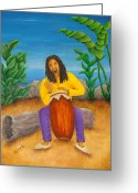 Dreadlocks Greeting Cards - Island Beat Greeting Card by Pamela Allegretto