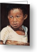Caribbean Art Pastels Greeting Cards - Island Boy Greeting Card by John Clark