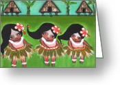 Island Cultural Art Greeting Cards - Island Chamoritas Greeting Card by Jennifer R S Andrade