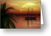 Tropical Sunset Greeting Cards - Island Explorer  Greeting Card by Richard Rizzo