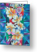 Silk Art Greeting Cards - Island Flowers - Frangipani Greeting Card by Maria Rova