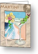 Caribbean Art Pastels Greeting Cards - Island Martini Greeting Card by William Depaula