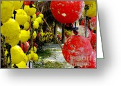 Yellow And Red Greeting Cards - Island of Buoys Greeting Card by Karen Wiles