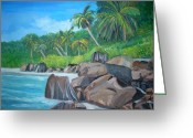 Teresa Dominici Greeting Cards - Island of Seychelles Greeting Card by Teresa Dominici