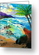 ; Maui Greeting Cards - Island Sisters Greeting Card by Karon Melillo DeVega