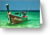 Moored Greeting Cards - Island Taxi  Greeting Card by Adrian Evans