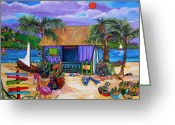 Cat Painting Greeting Cards - Island Time Greeting Card by Patti Schermerhorn