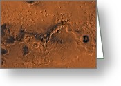 Gully Greeting Cards - Ismenius Lacus Region Of Mars Greeting Card by Stocktrek Images