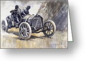 1908 Greeting Cards - Isotta Fraschini 50HP 1908 Targa Florio  Greeting Card by Yuriy  Shevchuk