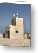 Star Of David Greeting Cards - Israeli Flag On An Old Building Greeting Card by Noam Armonn
