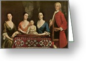 Portraits Greeting Cards - Issac Royall and His Family Greeting Card by Robert Feke
