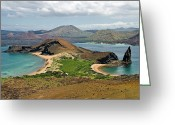 Bartolome Greeting Cards - Isthmus Isla Bartolome Greeting Card by Ecuador Images
