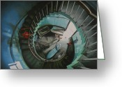 Spiral Staircase Painting Greeting Cards - It all starts here Greeting Card by Caren Bestbier